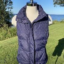 Womans Size Small Gap Puffer Vest Navy Blue W White Polka Dot Photo