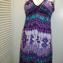 Womans Tie Neck Halter Dress Size Large Purple/ Aqua Polyester/spandex Very Cute Photo