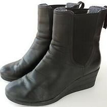 Womans Ugg Dupre Black Leather Waterproof Wedge Boots Size 10 Photo