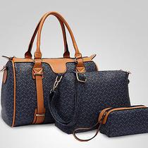Women 3pcs/set Bag in Bag Transparent Cowskin Handbag Hobo Tote Shoulder Bag Photo
