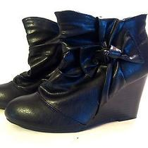 Women 7 7.5 Rampage Vegan Faux Leather Black Ankle Boot Bootie Bow Wedge Shoe Photo