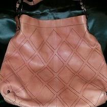 Women Bag Jessica Simpson Peach Leather Stitch Pattern Hobo Style Short Straps  Photo
