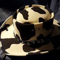 Women Black & White Formed Felt Wide Brim Wesrern Express Cowboy Style Hat   Photo