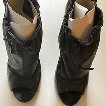 Women Boutique 9 Dorthea Leather Booties Peep Toe Size 10 Photo