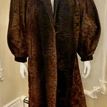 Women Brown 100% Swakara Persian Lamb Fur Coat Size L Photo