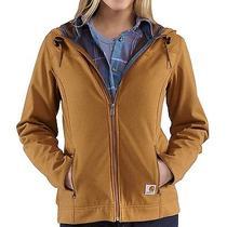 Women Carhartt Lrg Soft Shell Hooded Jacket Water Resistant Rain Snow Ski Barn  Photo