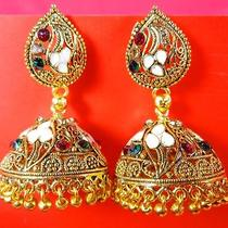 Women Chandelier Earrings Gold Color Indian Swarovski Dangle Jewelry Photo