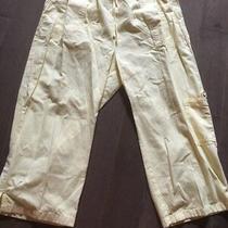 Women Classic Elements Pastel Yellow Capri Draw-String Elastic Pants Size L Photo