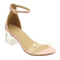 Women Clear Single Band Ankle Strap Lucite Heel Dress Sandal Blush Size 6 1/2 Photo