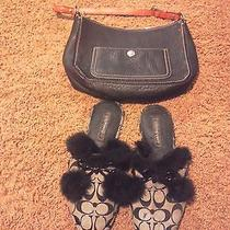 Women Coach purse&slippers Sz 10 Black Photo