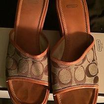 Women Coach Tan Brown Signature Logo Leather Slide Wedge Sandal Heel Shoe 8m Photo
