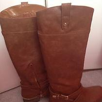 Women Cognac Aldo Rider Boots Size 6 Photo