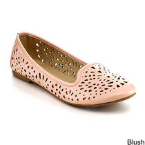 Women Comfy Casual Perforated Laser Cut Out Slip on Ballet Flats Refresh Stacy Photo