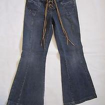 Women Dark Blue Express Stretch Jeans W 29 L 29 2 Pockets Flat Front Size 1/2 S Photo