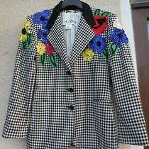 Women Escada Margaretha Floral New Wool Blazer Jacket Size 38 Photo