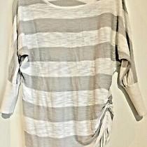 Women Express Sweater Shirt White and Gray Striped Size Small Adjustable Side Photo
