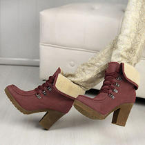 Women  Fashion Restoring Ancient Ways Thick Heel Lace-Up High-Heeled Boots Photo