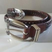 Women Fossil Braided Filigree Belt Genuine Leather Size Small Brown Woven Photo