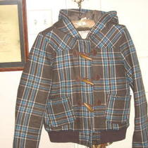 Women Fossil Scottish Tartan Plaid Down-Filled Hooded Pea Coat Jacket 6 8  New Photo