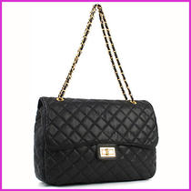 Women Gold Chain Quilted Black Shoulder Bag (G15) Photo