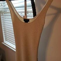 Women Guess Jeans Metallic Gold Threaded Knitted Tank Top Size S Photo