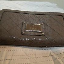 Women Guess Wallet Metallic Taupe Zip-Around Clutch Logo Pvc  7.5