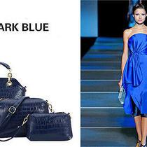 Women Hobo Satchel Handbag Vogue Blue Faux Leather 3pc Tote Shoulder Bags Photo
