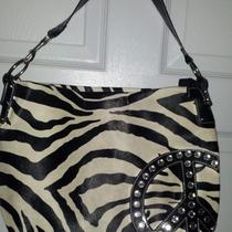 Women Juniors Girls Handbag Zebra Peace Sign Rhinestones Purse 18.5