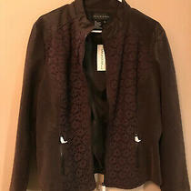 Women L Brown Faux Leather Jacket Zipper Pockets Excellent Fall Coat Photo