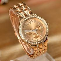 Women Lady Fashion Luxury Gold Crystal Quartz Rhinestone Crystal Wrist Watch Eff Photo