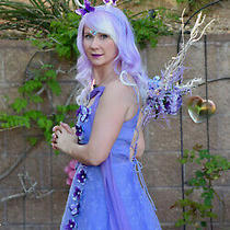 Women Lavender Fairy Dress Costume Size M 7/8 Wig Crown Headdress Purple Fantasy Photo