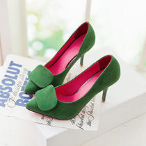 Women Mary Janes Pointed Toe Thin Heel Faux Suade Pump Comfortable Wedding Shoes Photo
