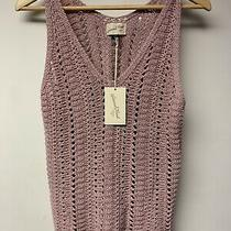 Women Med Universal Threads Blush Sleveless Crochet Shirt Vest New With Tag Photo