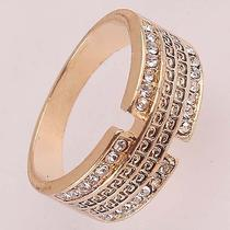 Women Men 14k Rose Gold Filled Us Size 9 Austrian Crystal Ring Jewelry C600 Photo