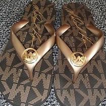 Women Michael Kors. Size 8 Brown/gold Flip Flop Pvc Nwot Photo