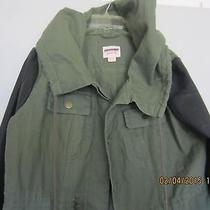 Women Mossimo Army Green Black Faux Leather Spring Time Hooded  Jacket Size  2x  Photo