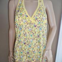Women Mossimo Xl Yellow Purple Aqua Blue Floral Low Cut Soft Tie Halter Tank Top Photo