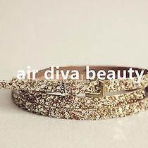 Women Narrow Skinny Slim Gold Shine Sequins Glitter Leather Waist Band Belt  Photo