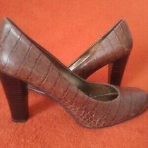 Women Nine West Leather Brown Animal Print  Chunky Heel Pumps Closed   Toe Sz8 Photo