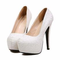 Women Noble High Stilettos Heels Lace Shining Wedding Shoes Platforms Us6/eu36 Photo