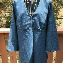 Women Old Navy Maternity Blue 3/4 Sleeve Blouse Size M Photo