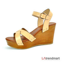 Women Open Toe Ankle Strap Platform Wedge Heel Sandal Klaris Natural Size 8.5 Photo