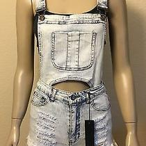 Women Overalls Distressed Jeans Cutoff Shorts Romper Size Large h&m Forever 21 Photo