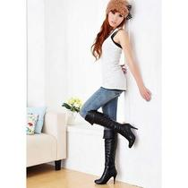 Women Popular Soft Warm Imitation Leather Over Knee High Heel Boots Us Sz5-9 Photo