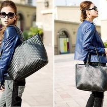 Women Pu Synthetic Leather Weave Knit Handbag Shoulder Tote Hobo Bag Purse Black Photo