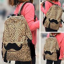 Women Rucksack Campus Totes Hobo Leopard Mustache Camping Satchel School Bag Bl0 Photo