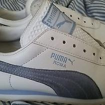 Women's 10 Puma Roma White & Baby Blue Leather Sneakers Photo