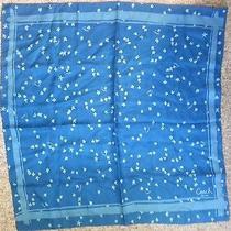 Women's 100% Silk Authentic Coach Hankerchief/scarf Blue Flower Design 50 C Photo