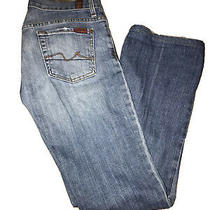 Women's 7 for All Mankind Jeans Boycut Button Fly Size 25 Medium Wash High Waist Photo