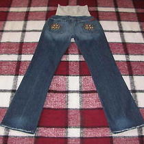 Women's 7 for All Mankind Size 32 Maternity Jeans Blue Boot Cut Denim Great Fade Photo